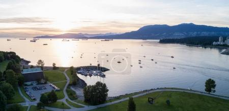 Beautiful Sunset viewed from an aerial perspective of Burrard Inlet from Kits Point, Vancouver, BC, Canada.