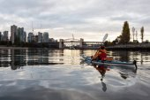 Kayaking in Vancouver during cloudy Sunrise