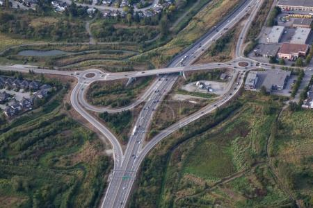 Aerial view of a highway overpass