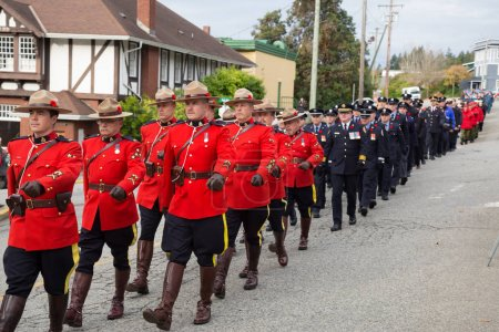 Powell River, British Columbia, Canada - November 11, 2017 - Remembrance Day Ceremony in a little town.