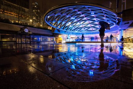 Downtown Vancouver, British Columbia, Canada - Feburary 2, 2018 - Robson Square Ice Rink During a Wet and Rainy Winter Night.
