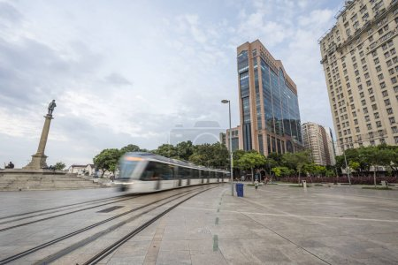 Brazil, Rio de Janeiro - March 07, 2018: Tram moving on large public Maua Square