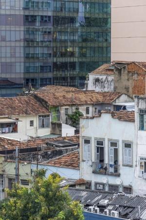 Favela and modern building in Maua Square, Downtown Rio de Janeiro, Brazil