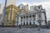 Brazil, Rio de Janeiro - March 07, 2018: Historic buildings on Cinelandia Square