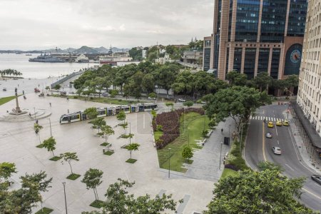 Brazil, Rio de Janeiro - March 07, 2018: View from terrace on tram moving on large Maua Square