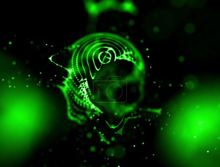 fire abstact green background . Explosion color 3D illustration
