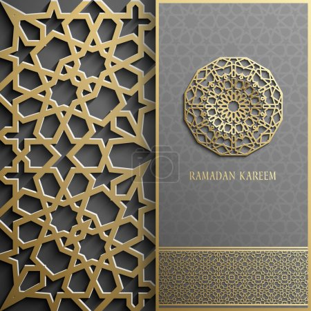 Ramadan Kareem greeting card,invitation islamic style.Arabic circle golden pattern.Gold ornament on black, brochure