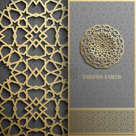 Illustration for 3d Ramadan Kareem greeting card,invitation islamic style.Arabic circle golden pattern.Gold ornament on black,islamic - Royalty Free Image