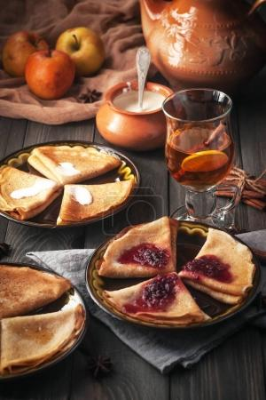 Delicious pancakes with sweet fillings. Maslenitsa.
