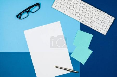 Photo for Mock-up magazine or catalog on colorful table. White page or notepad on modern background. Blank copy space for mockups or simulations. - Royalty Free Image