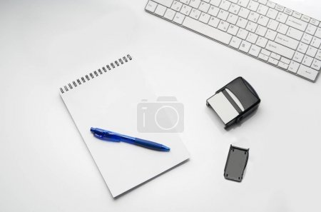 Doctors desk with medical accessories and products. Top view photograph