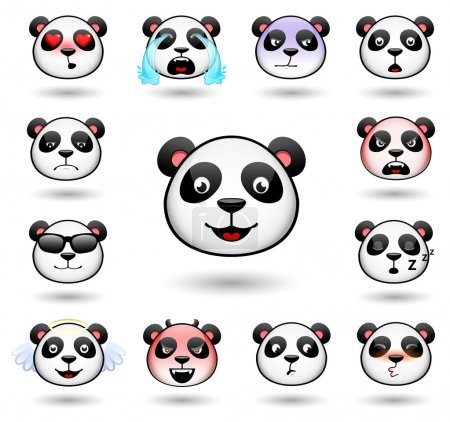 Illustration for A set of emoticons. Panda. Isolated vector illustration on white background. Colored icons - Royalty Free Image