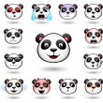 A set of emoticons. Panda. Isolated vector illustr...