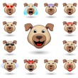 A set of emoticons. Dog. Isolated vector illustrat...