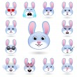 A set of emoticons. Rabbit or hare. Isolated vecto...