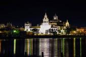 El Rocio hermitage - night landscape. Small village in Almonte, Huelva, Andalusia, Spain