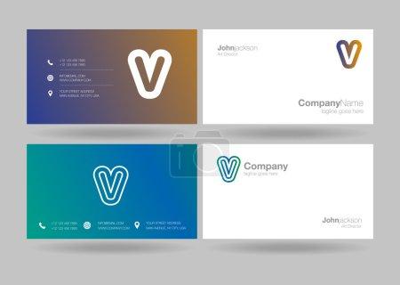 V Letter Logo Business Cards