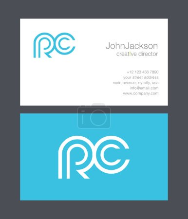 R & C Letter Logo, with Business Card Template Vec...
