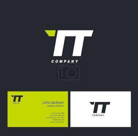 Illustration pour Logo de lettre T & T, avec illustration vectorielle de modèle de carte de visite - image libre de droit