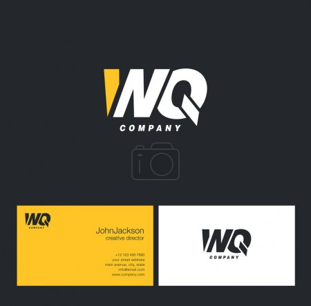W & Q Letter Logo, with Business Card Template Vec...