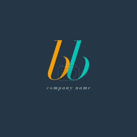 Illustration pour Logo des lettres conjointes BB Italics, modèle de carte de visite, vecteur - image libre de droit