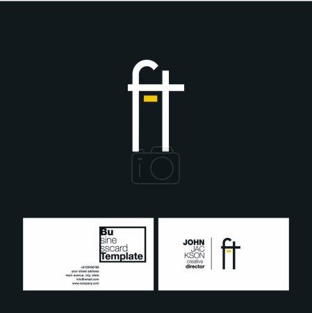 Illustration pour Logo des lettres conjointes FT avec vecteur de modèle de carte de visite - image libre de droit