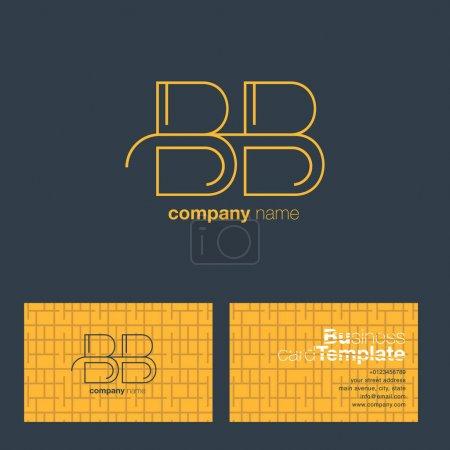 Illustration pour Ligne mince lettre BB Company Logo, avec modèle de carte de visite Illustration vectorielle, identité d'entreprise - image libre de droit