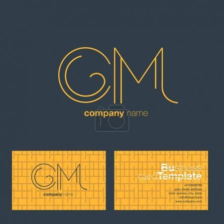 Line letter logo CM