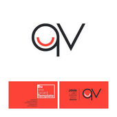 QV Round Letters Logo with Business Card Template Vector