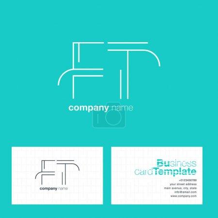 Illustration pour Logo FT Line Letters avec vecteur de modèle de carte de visite - image libre de droit