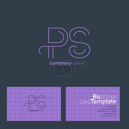 PS Line Letters Logo with Business Card Template V...