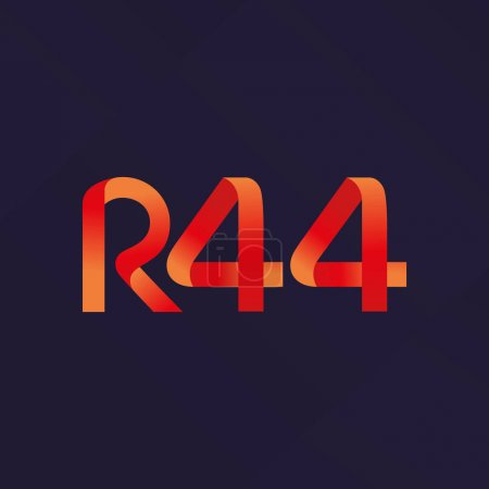 Letter and number logo R44 icon, Vector illustrati...