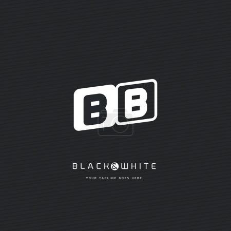 Illustration pour Modèle de logo BB lettres noir et blanc. Illustration vectorielle, identité d'entreprise - image libre de droit
