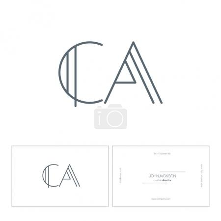 line joint letters logo CA