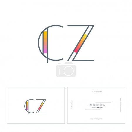 line letters logo CZ