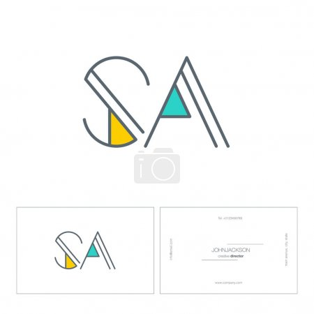 line joint letters logo SA