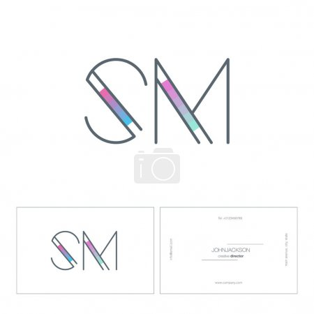 line joint letters logo SM