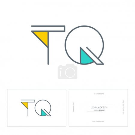 line joint letters logo tq