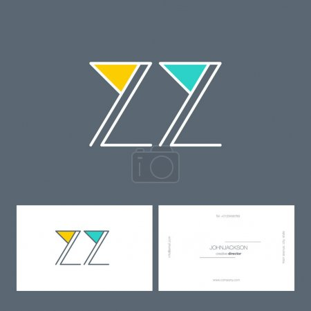 line joint letters logo ZZ