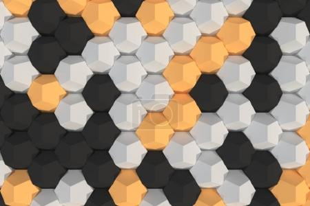 Pattern of white, orange and black hexagonal elements