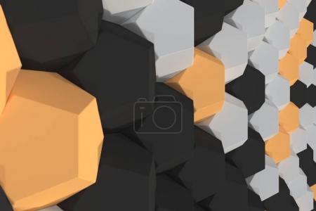 Pattern of white, orange and black hexagonal elements