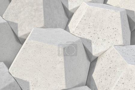 Pattern of concrete hexagonal elements