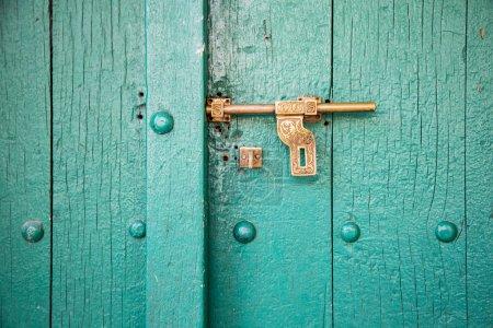 Wooden door close up
