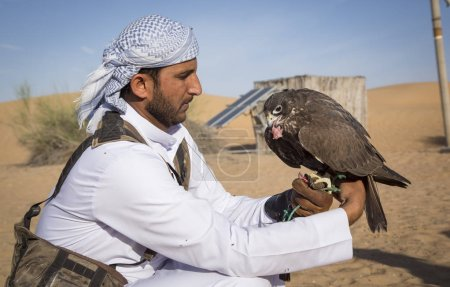 Falconer with falcon in desert