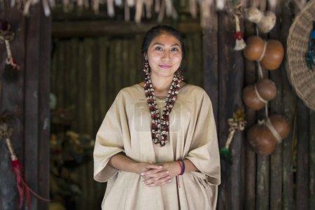 Woman in Maya indian costume