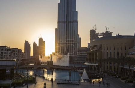 Sunset behind Burj Khalifa