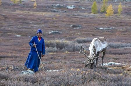 tsaatan man with his reindeer