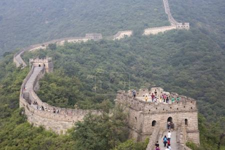 people walking on a great wall of China