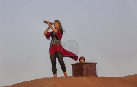 lady pirate in desert