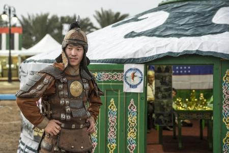 Abu Dhabi, United Arab Emirates, December 8th, 2017: mongolian man dressed like a warrior